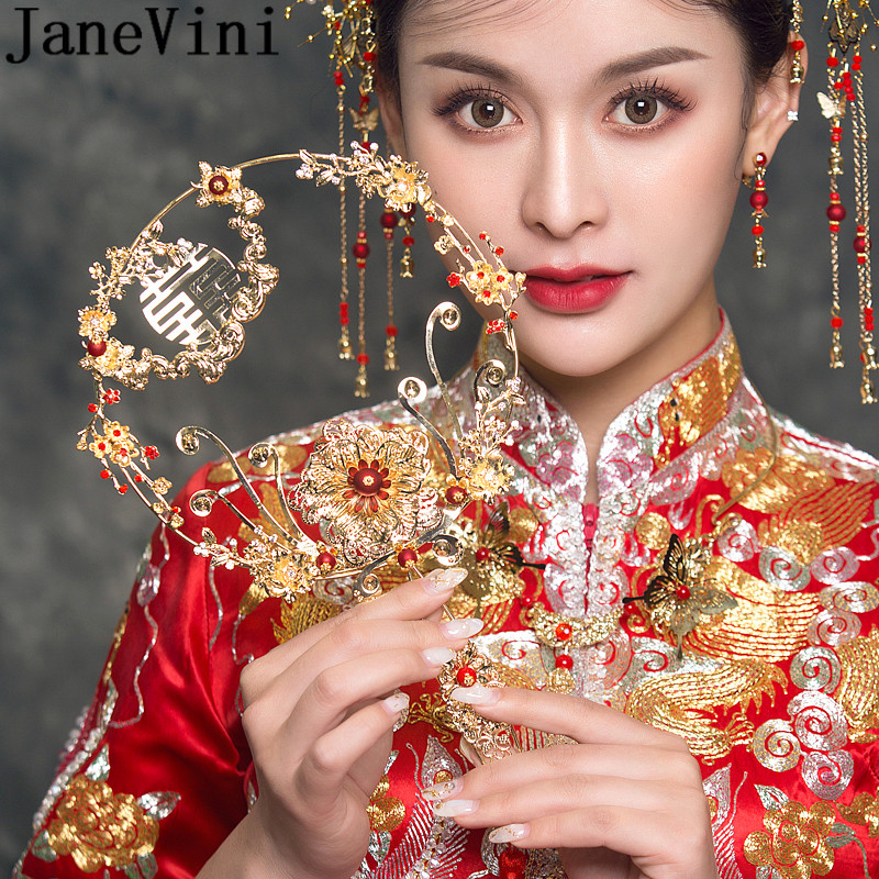 JaneVini Gold Ancient Crystal Wedding Bouquet Luxury Bride Flowers Traditional Round Hollow Chinese Bridal Fan Bouquets Holder