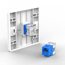 AMPCOM 10-Pack Keystone Jack,  CAT5e Tool-Less RJ45 UTP Keystone Jack, No Punch-Down Tool Required Module Coupler – Blue
