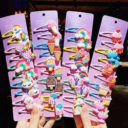 10PCS/Set New Girls Cute Cartoon Ice Cream Unicorn Hairpins Kids Lovely Hair Clips Barrettes Headband Fashion Hair Accessories