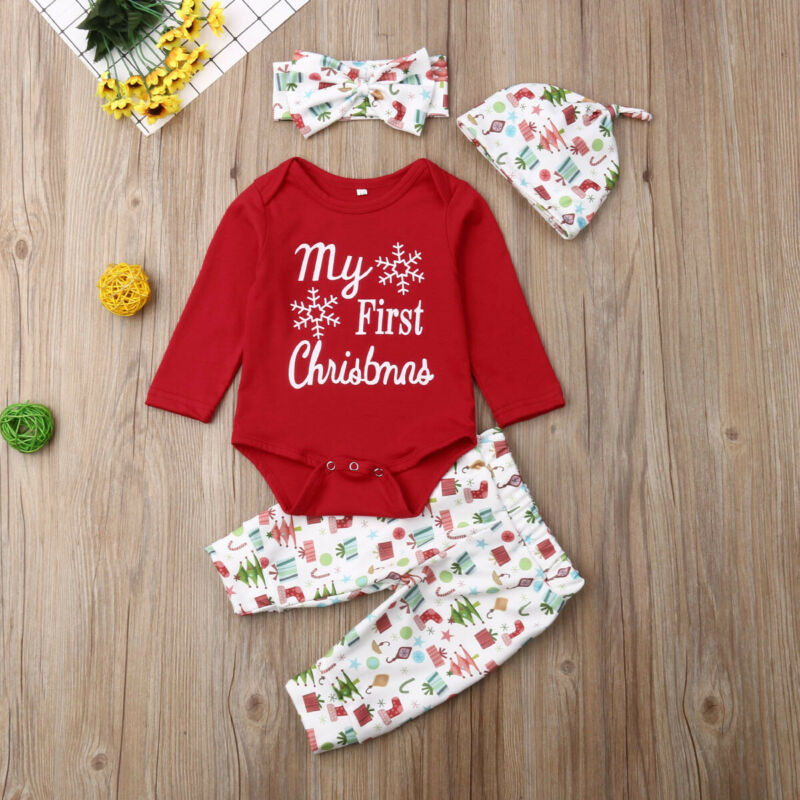 My First Christmas Baby Girls Infant Outfit Romper Long Pants Headband 4PCS Set