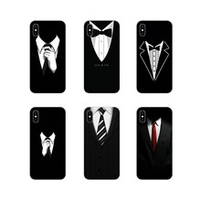 For Apple iPhone X XR XS 11Pro MAX 4S 5S 5C SE 6S 7 8 Plus ipod touch 5 6 black and white suit tie Transparent Soft Shell Covers(China)