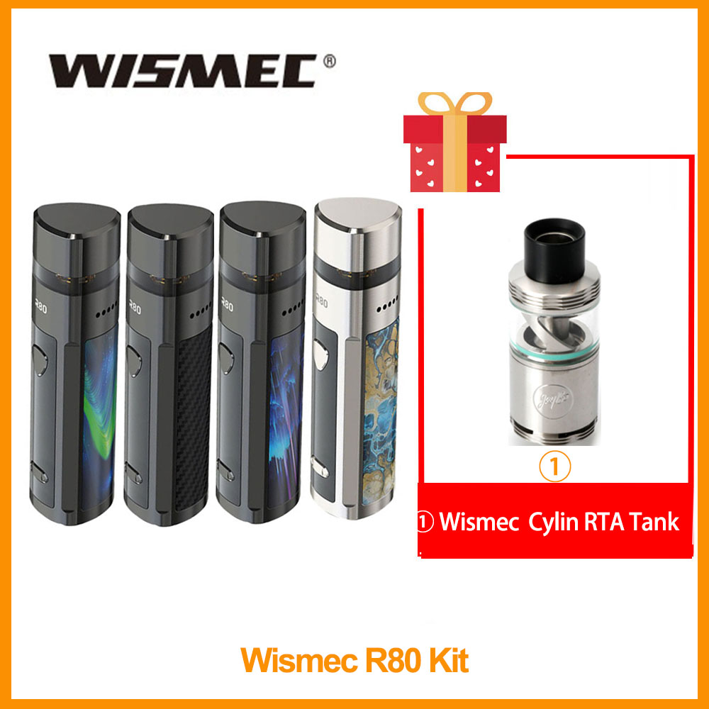 Free Gift Cylin RTA Original Wismec R80 Kit 4ml Output 80W WV-M 0.3ohm Mesh/WV01 0.8ohm Nicr Coil VS VOOPOO Vinci X Kit E-Cig