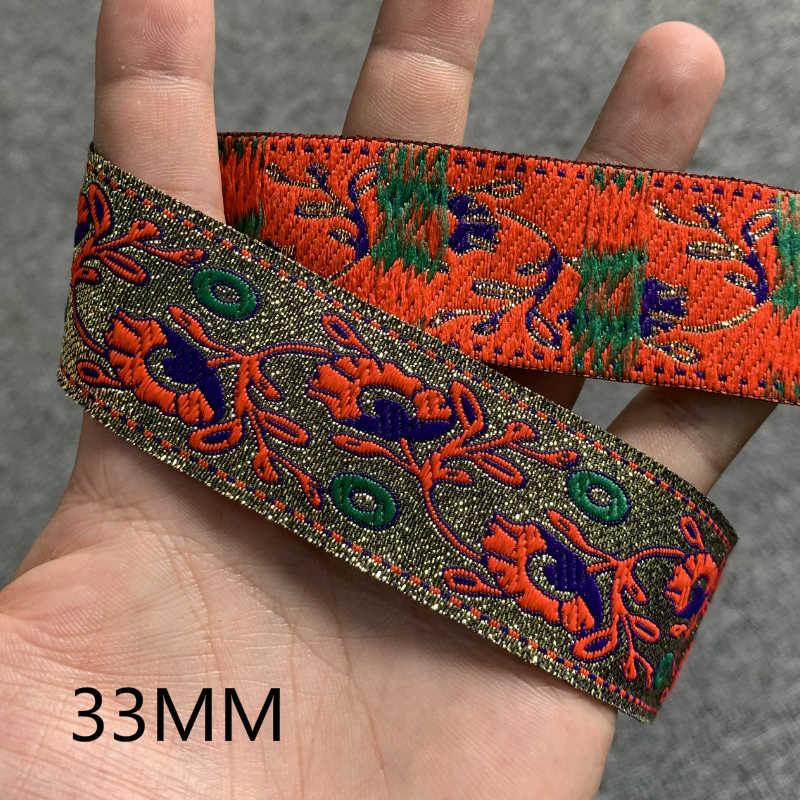 """3 Yards 1.25 """"30-35MM Oro di Seta Vintage Etnico Fiore Del Merletto Del Nastro Boho Lace Trim Vestiti FAI DA TE accessori del sacchetto Ricamato Custom"""