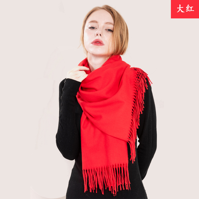 2018 New Style Lengthen Thick-Solid Color Top Grade Bristle Monochrome Tassels Scarf Autumn And Winter Versatile Shawl Women's