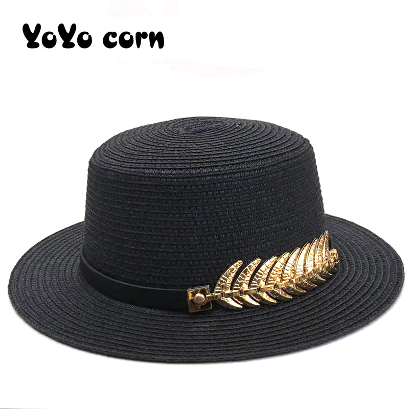 Vacation Panama Straw Cap Women Brim Beach Hat Foldable Chapeau Ladies Shade Black Belt With Golden Leaves Summer Unisex Sun Hat