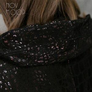 Image 4 - Novmoop Inghilterra di stile più il formato donne con cappuccio di pelle di pecora del cuoio genuino cappotto di trincea di lusso giacca lunga veste femme LT2844