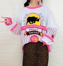 купить long shirt Sweater female autumn new casual hit color round neck letter pattern loose wild long-sleeved t-shirt по цене 1663.45 рублей