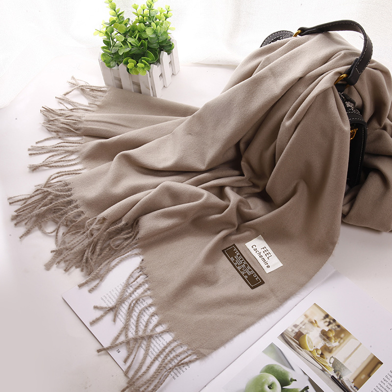 WUBXOLO Fashion Women Cashmere Scarves Solid Print Tassel Warm Scarf Female 200*70cm Long Pashmina Shawls and Wraps Lady Scarfs