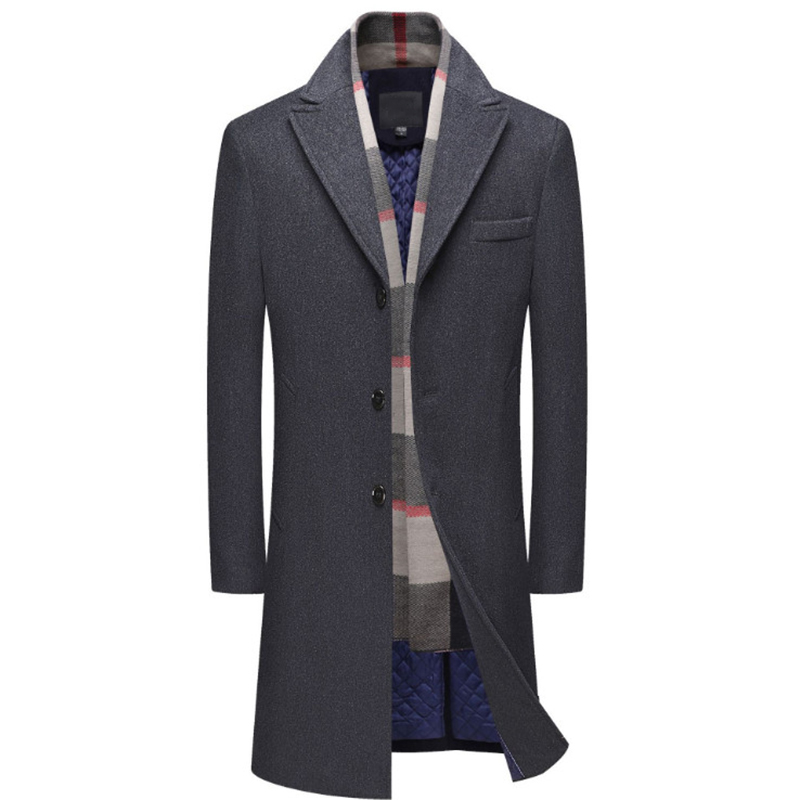 New Mens Wool Coat Single Breasted Long Trench Coat Men Winter Thick Woolen Overcoat Casual Jacket Detachable Scarf
