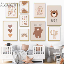 Art-Painting Wall-Pictures Posters Boho Room-Decoration Alphabet Nursery Wall Canvas Prints