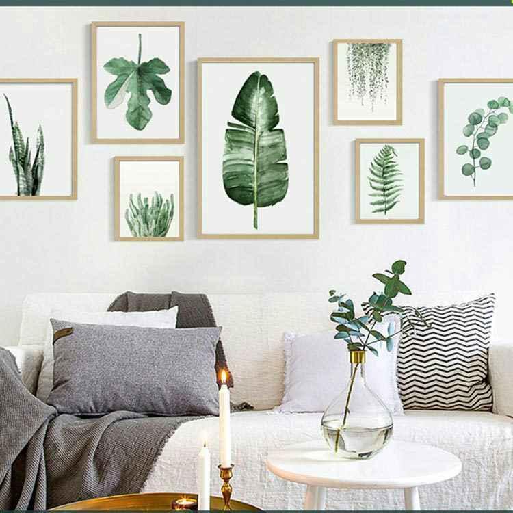 Monstera Deliciosa листья стены Искусство Холст Живопись зеленый стиль растение скандинавские плакаты и принты картина Современное украшение дома