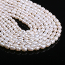 Natural Freshwater Cultured Pearls Beads Rice Shape 100% for Jewelry Making DIY Strand 14 Inches Size 5-6mm