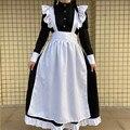 Frauen Klassische Lolita Maid Kleid Vintage Inspiriert frauen Outfits Cosplay Anime Mädchen Schwarz Langarm Kleid S-4XL