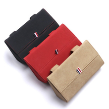 검정 또는 빨강 또는 베이지 색 PU 가죽 자동차 안경 케이스 자동차 태양 바이저 교수형 다기능 카드 잡화 보관 장식 상자