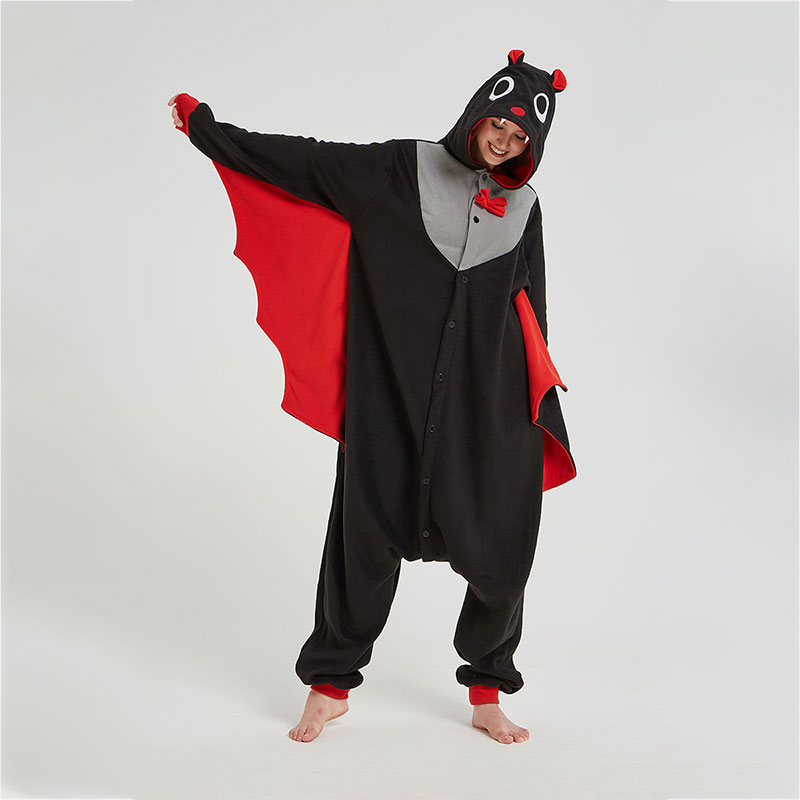 Black Bat Onesie Women Adult Animal Cartoon Kigurumi Polar Fleece Home Jumpsuit Funny Cute Overalls Girls Festival Pajama Suit
