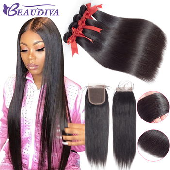 BEAUDIVA Human Hair Bundles With Closure Natural Color Peruvian Straight Hair Weave Bundles With Closure