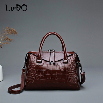 LUCDO high quality PU Leather Large Capacity Totes Bag fashion Crocodile pattern shoulder messenger bags Vintage Crossbody bags