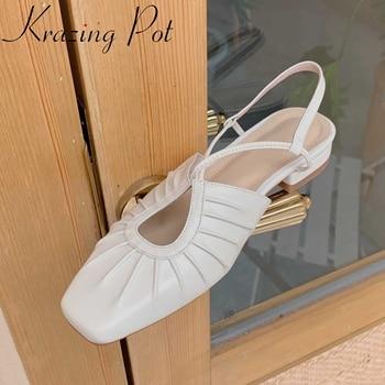 Krazing pot cow leather square toe low heels slingback women shoes strange style European design back strap summer sandals L62