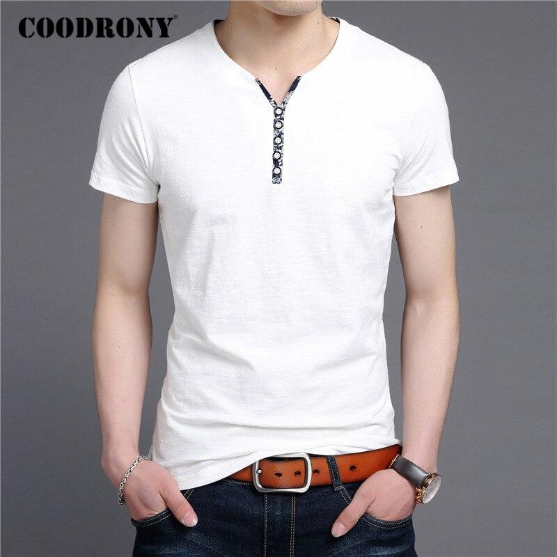 COODRONY Short Sleeve T Shirt Men Summer Casual Cotton Tee Shirt Homme Streetwear Fashion Button Henry Collar T-Shirt Man C5089S