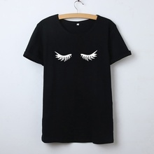 Eyelash Graphic Tee Women Summer Short Sleeve Cotton Funny T Shirt Women Black White Tshirt Women Top Casual Poleras Mujer