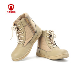 Horse Children Combat Boots Sandy Color Combat Boots Fashion Leather Comfortable Anti-slip Wear-Resistant Shock Absorption Comba