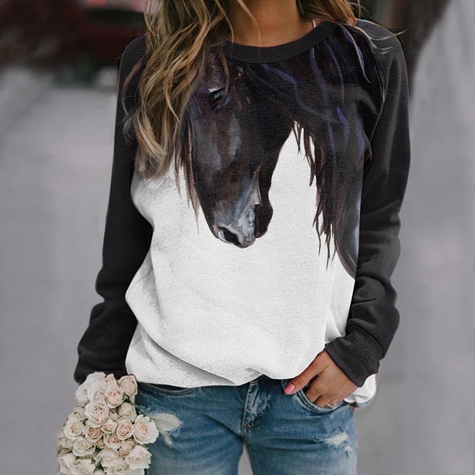 40 # das mulheres Camisetas O Pescoço Cavalo Impressão Splicing Mangas Longas Ao Ar Livre T-shirt das Mulheres Encabeça Футболка Женская Poleras Mujer