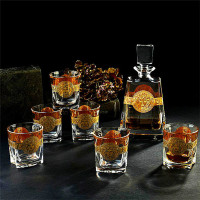 Whisky Set Crystal Glass Drinking Set Wedding Gifts Bohemia Style 6 Pieces Wine Glasses & 570ml Bottles Gold/Silver Bars Set