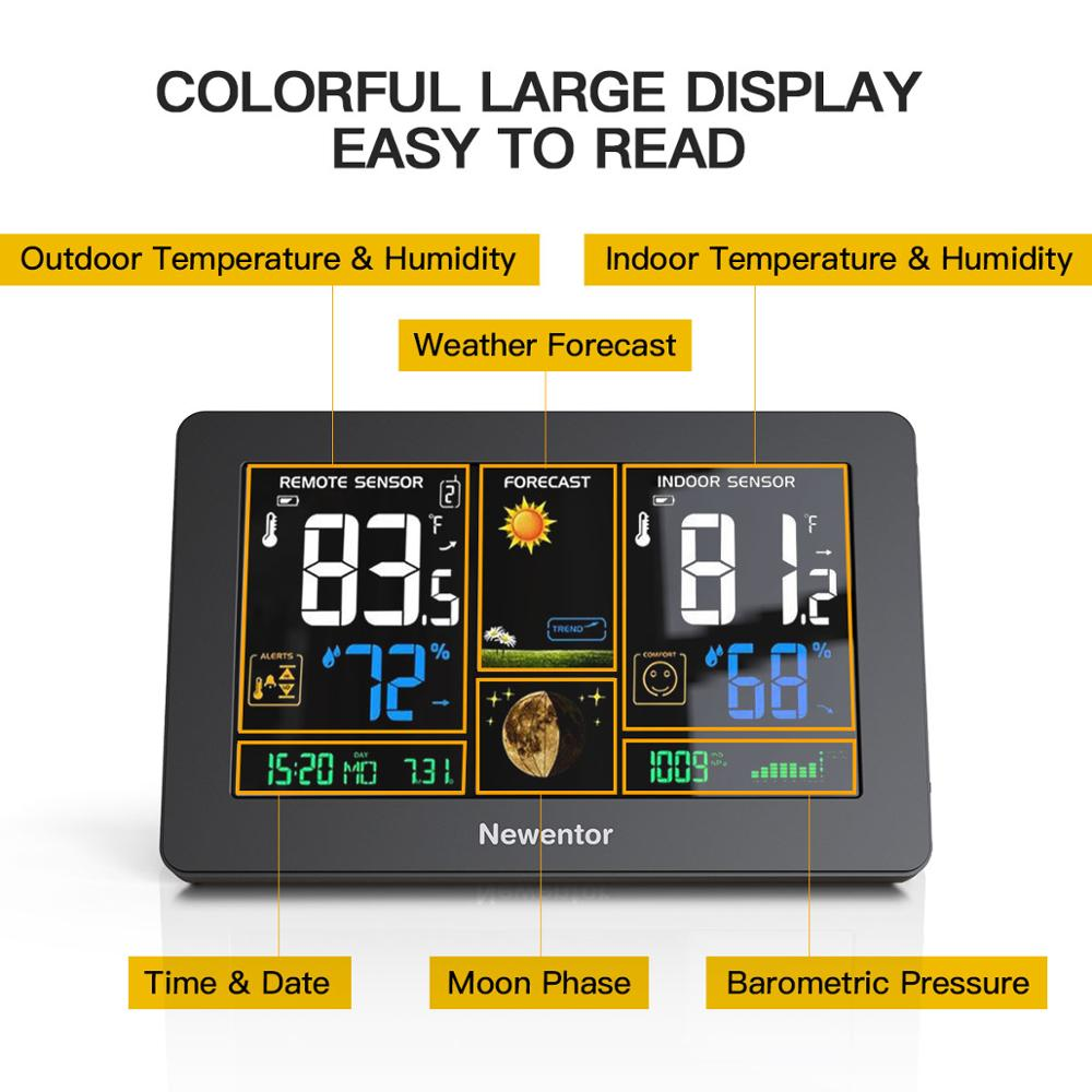 Tools : Newentor Large Display Weather Station Wireless Digital Indoor Outdoor Hygrometer Humidity Temperature Forecast Sensor Station