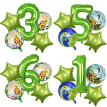 5pcs/set 40inch Green Number Foil Balloon