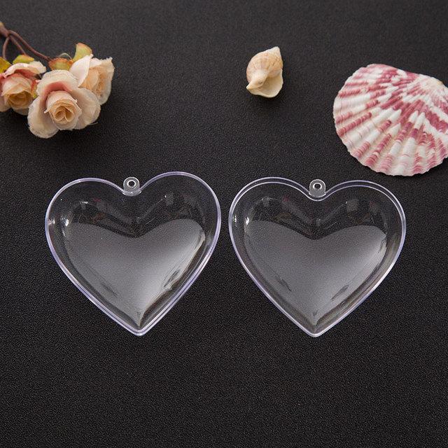 2019 Hot Sale 1 Set 65/80mm DIY Clear Plastic Clear 2Pcs Bath Bomb Mold Heart Shape Acrylic Mould 80*78*46mm 5