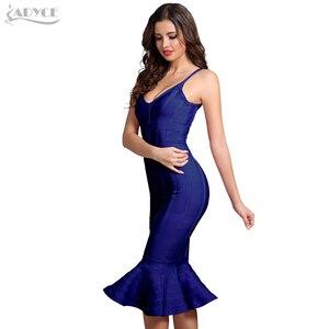 Image 5 - Adyce femmes été rose robe de pansement 2020 Spaghetti sangle sirène col en v Midi clubwear célébrité soirée robe de soirée Vestidos