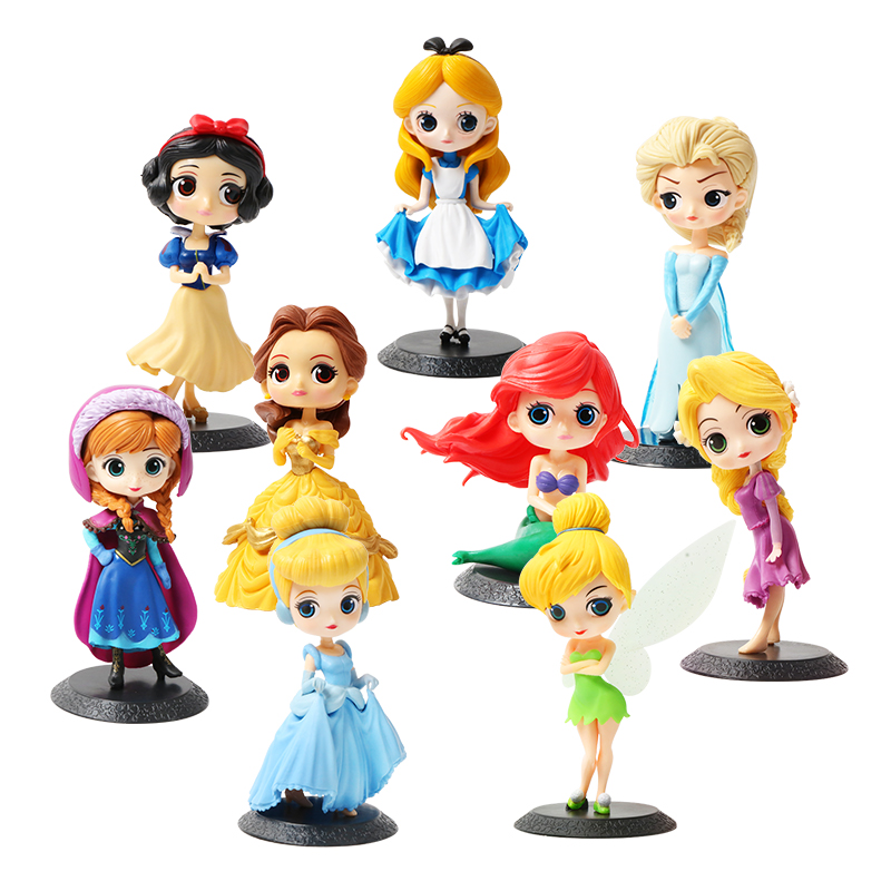 Disney Princess Toys Frozen Elsa Anna Rapunzel Belle Cinderella Alice Snow White Ariel Action Figures PVC Model Collection Gifts
