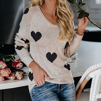 Women Sexy Sweet Sweater Autumn Winter V Neck Long Sleeve  Shoulder Loose Heart Pattern Pullover Sweater Jumper Pull Femme beige cable pattern off shoulder pullover sweater