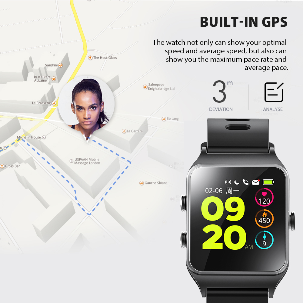 Image 4 - Dropshipping Makibes BR3 Strava Smartwatch Men Built in GPS Smart Watch IP68 Waterproof Fitness Tracker Heart Rate Monitor Watch-in Smart Watches from Consumer Electronics