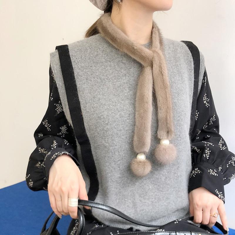 Écharpe de fourrure de vison véritable de luxe hiver foulard de mode fourrure moelleuse enveloppes femmes filles nouveau design écharpes de fourrure avec pompon perle