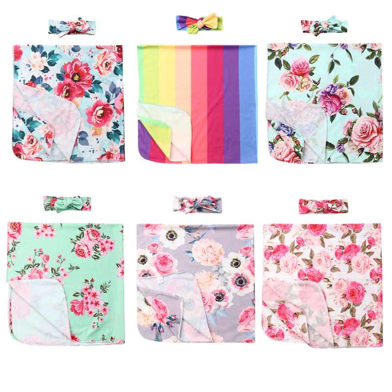 0-6Months Newborn Baby Swaddle Blanket Sleeping Bag +Headband 2pcs Set
