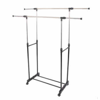 Dual-bar Garment Rack Vertically & Horizontally-Stretching Rolling Closet Organizer Rack Stand Clothes Rack with Shoe Shelf