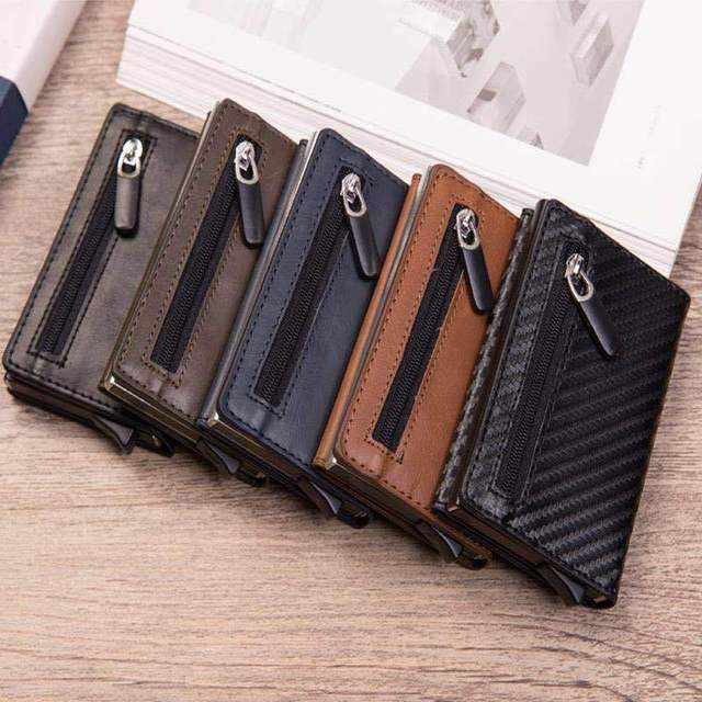 Magnet Rfid Blocking Card Holder Women Men Wallets Thin Slim Wallets Leather Coin Purse Small Male Black Mini Wallet portomonee 5