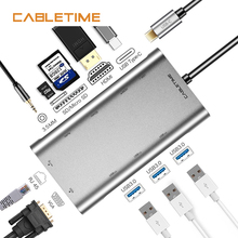 Cabletime USB HUB RJ45 Card Reader HDMI 10 in 1 HUB 3.5MM Type C HUB USB 3.0 with Power Adapter SD for Macbook Laptop N231 все цены