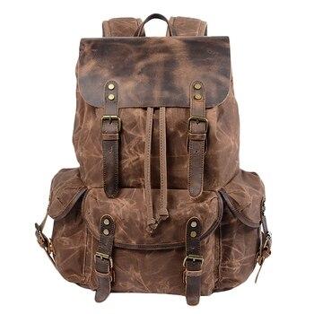 Multifunction Casual Canvas Backpacks Vintage Waterproof Large Capacity Travel Bag Women Leather Laptop Rucksack