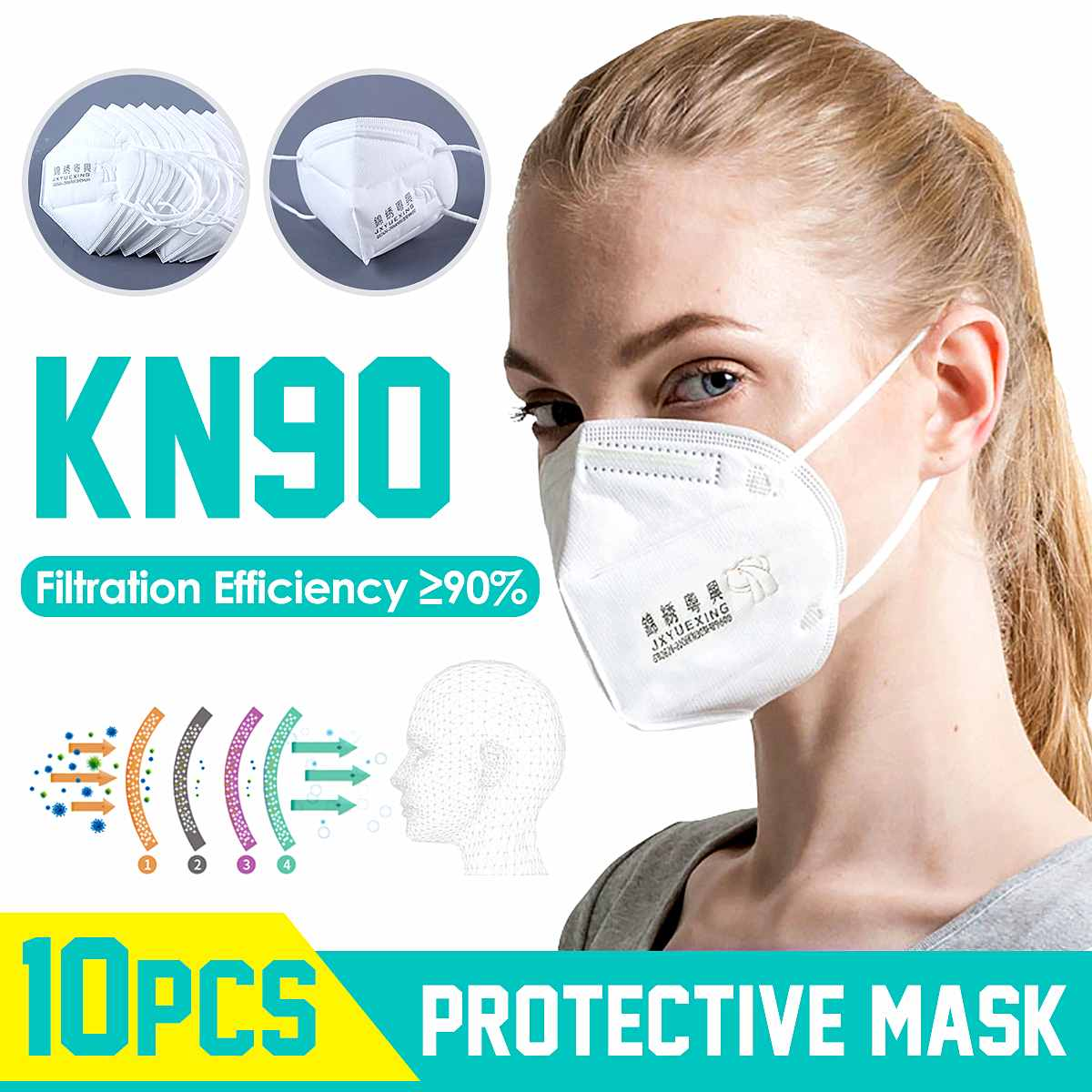 10pcs KN90 Mask Respirator 90% Filtration Non woven N90 Mouth Mask Anti Dust Smog Protection 4 Filters Against Droplet Mask