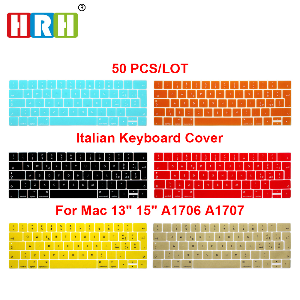 HRH Wholesale 50pcs EU Italian Silicone Keyboard Cover Skin For Mac Pro 13 A1706 15A1707 With Touch Bar Release 2019/2018/2017 image