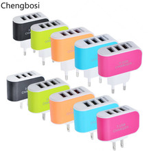 3 Port 5V 2A USB Charger Mobile Phone EU / US Plug Travel Wall Adapter for IPhone Xiaomi Samsung