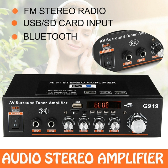 600W 110V Amplifier HIFI bluetooth Stereo Power 2 CH AMP Audio Player Car Home Car Electronics Car Audio Amplifiers