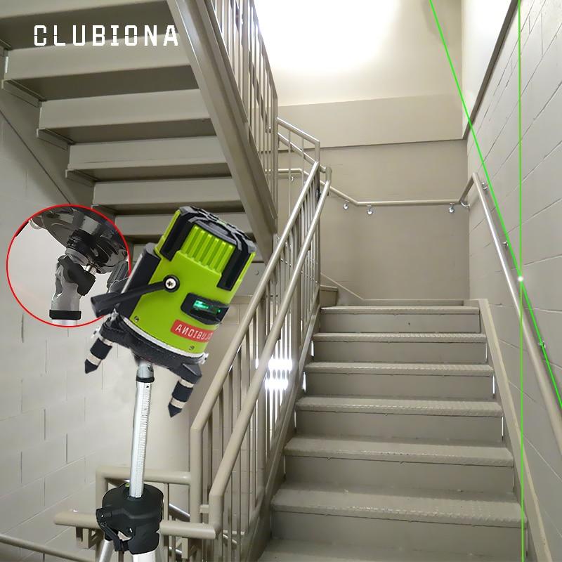 CLUBIONA зеленый и красный луч линии 360 градусов Поворотный наружный режим-приемник и наклон slash доступен автоматический линейный лазерный уровень