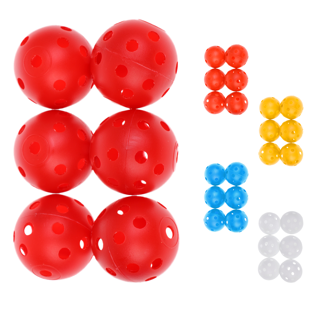 6 Pieces Perforated Plastic Indoor Outdoor Practice Balls For Golf Tennis Training White Red Orange Yellow Blue