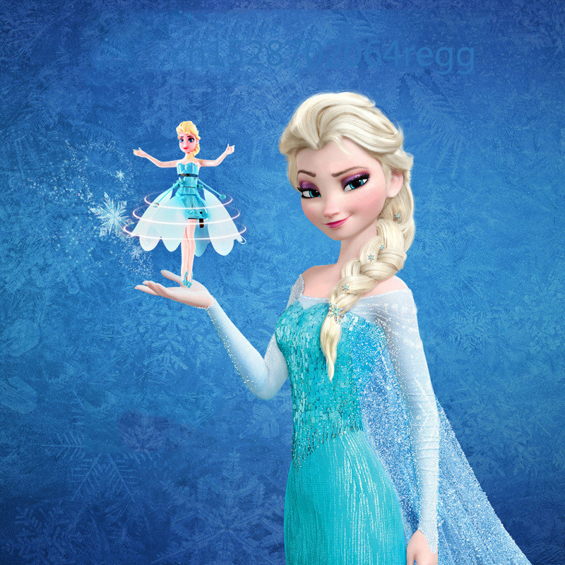 Induction Aircraft Little Elsa Princess Doll Infrared Suspension Toy Doll Mini Remote Control Drone Girl Gift(China)