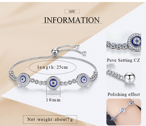 Image 5 - New Fashion High Quality Genuine 925 Sterling Silver Good Luck Luxury Round Blue Eyes Clear Cubic Zircon Crystal Tennis Bracelet