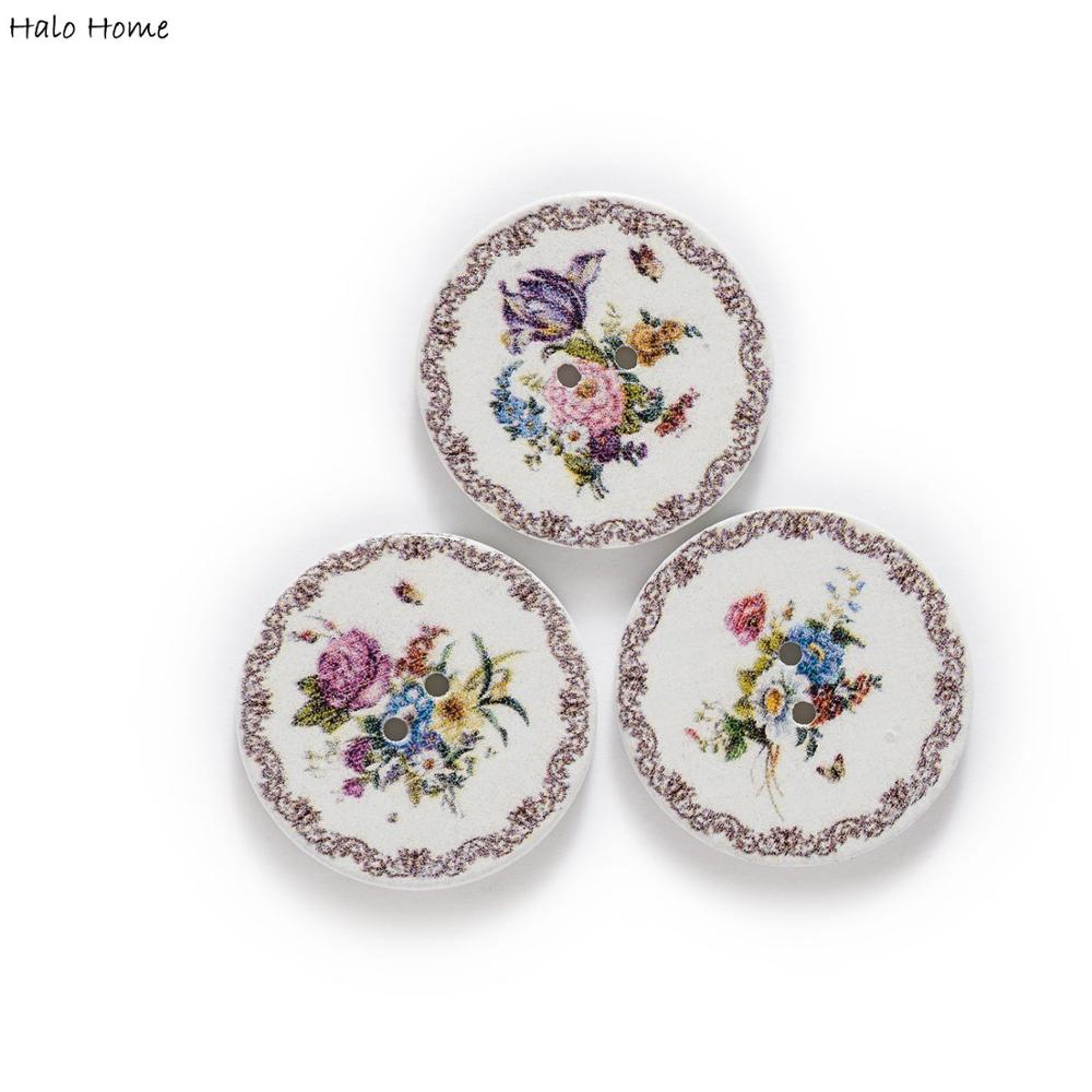 50pcs Flower Retro Series White Wood Buttons For Handwork Sewing Scrapbook Clothing Crafts Accessories Gift Card 15-25mm An Indispensable Sovereign Remedy For Home