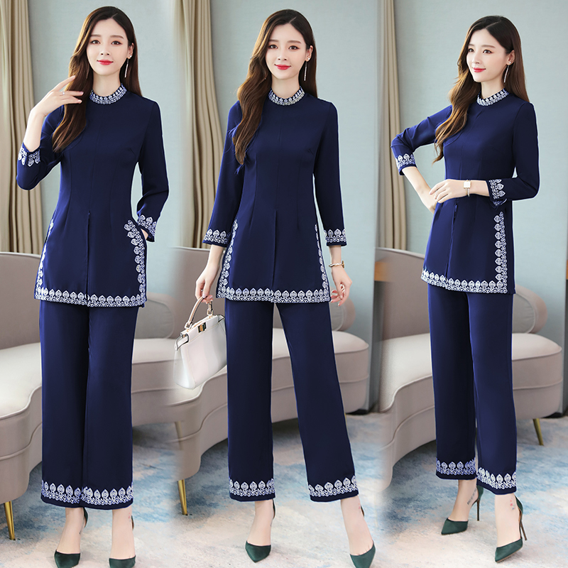 2019 Vintage Embroidery Two Piece Sets Outfits Women Plus Size Long Tops And Wide Leg Pants Suits Elegant Korean Office Sets in Women 39 s Sets from Women 39 s Clothing